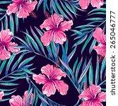 beautiful seamless floral... | Shutterstock .eps vector #265046777