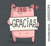 Simple Thank You Card With Pig...