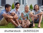 happy smiling diverse group of...   Shutterstock . vector #265053224