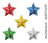 set of gold and precious stars. ... | Shutterstock .eps vector #265073195