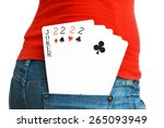 four cards with a joker in a... | Shutterstock . vector #265093949