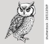owl graphic black   white | Shutterstock .eps vector #265113569