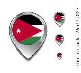 jordan flag map pointer. 3d map ... | Shutterstock .eps vector #265115027