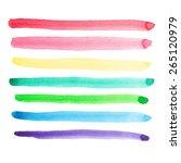 set of vivid watercolor brush...   Shutterstock .eps vector #265120979