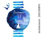summer sea watercolor... | Shutterstock .eps vector #265130891