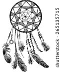 hand drawn indian dream catcher | Shutterstock .eps vector #265135715