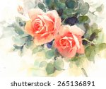 Watercolor Roses Floral...
