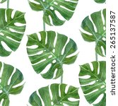 watercolor monstera leaf... | Shutterstock .eps vector #265137587