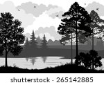 landscape  trees  river and... | Shutterstock .eps vector #265142885