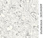 vector doodle seafood... | Shutterstock .eps vector #265144349