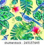 seamless tropical print with... | Shutterstock . vector #265157645