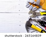 set of tools over a wood... | Shutterstock . vector #265164839