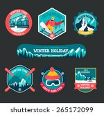 set of ski and snowboard badges  | Shutterstock .eps vector #265172099