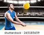 Volleyball Player On Blue...