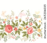 Seamless Floral Border On Whit...