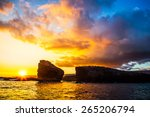 Sunset.  Lanai, Hawaii. Sweetheart rock.  Puu Pehe. Two Rocks.