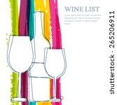 wine bottle  glass silhouette... | Shutterstock .eps vector #265206911