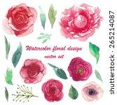 watercolor peony  ranunculus ... | Shutterstock .eps vector #265214087
