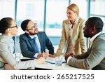 happy businesswoman explaining...   Shutterstock . vector #265217525