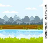 cartoon mountains near the... | Shutterstock .eps vector #265249625