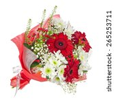 Colorful Flower Bouquet In Red...