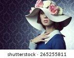 elegant pretty woman in blue... | Shutterstock . vector #265255811
