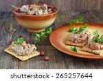 crackers with  hicken liver... | Shutterstock . vector #265257644