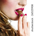 Woman eating chocolate - stock photo