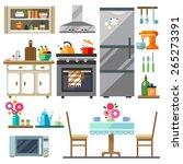 home furniture. kitchen... | Shutterstock .eps vector #265273391