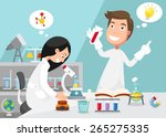scientists doing experiment... | Shutterstock .eps vector #265275335