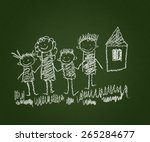 happy family. kids drawings.... | Shutterstock . vector #265284677