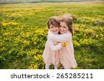 cute twin sisters  embrace on a ... | Shutterstock . vector #265285211