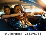 enjoy life fun couple driving... | Shutterstock . vector #265296755