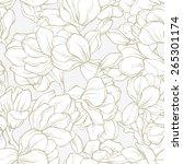 elegant linear magnolia flowers ... | Shutterstock .eps vector #265301174