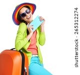 portrait of female tourist with ... | Shutterstock . vector #265312274