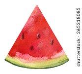 watercolor watermelon slice... | Shutterstock .eps vector #265318085