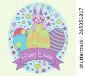 happy easter card in vector.... | Shutterstock .eps vector #265351817