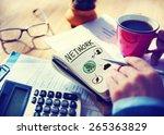 businessman notepad network... | Shutterstock . vector #265363829
