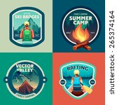 set of outdoor adventure camp... | Shutterstock .eps vector #265374164