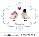 wedding invitation with cute... | Shutterstock .eps vector #265374251