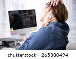 close up rear view tired office ... | Shutterstock . vector #265380494