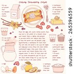 recipe card. creamy strawberry... | Shutterstock .eps vector #265396559