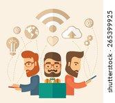 three outstanding hipster... | Shutterstock .eps vector #265399925