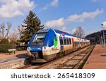 Small photo of PROVINS, FRANCE - FEBRUARY 22, 2015: AGC (Autorail Grande Capacite) Regional Train SNCF Class B 82500 in Provins, France. Hybrid, multi-system, electro-diesel multiple unit built by Bombardier