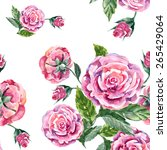 rose and button  watercolor ... | Shutterstock . vector #265429064
