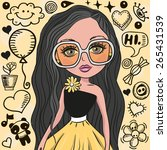 cute girl with glasses on a... | Shutterstock .eps vector #265431539