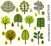 graphically trees and leaves.... | Shutterstock .eps vector #265457939