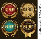 iso 9001 certified golden badge ... | Shutterstock .eps vector #265463015