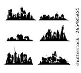 silhouettes destroyed cities | Shutterstock .eps vector #265485635