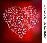 floral heart. beautiful   hand... | Shutterstock . vector #265491479